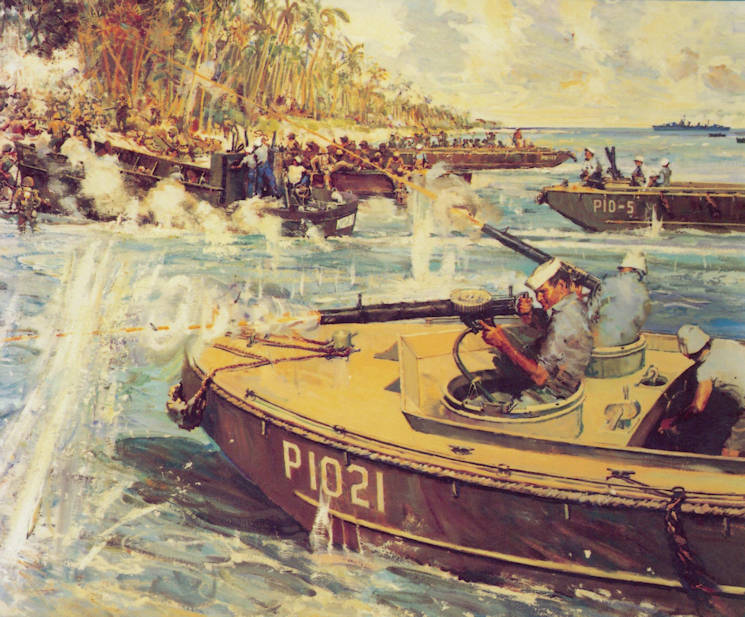 An artist's depiction of the NOB Cactus mission to save an ambushed Marine battalion at Point Cruz, Guadalcanal. Official recognition for this Coast Guard operation included a Medal of Honor, two Navy Crosses, and a number of Purple Hearts. Franklin D. Roosevelt later recognized all members of Dexter's Coast Guard unit with the Presidential Unit Citation as part of the First Marine Division. (U.S. Coast Guard courtesy image.)