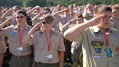 Boy Scouts signing the National Anthem during the 2013 National Scout Jamboree's opening day on July 16th.