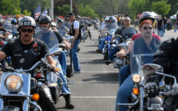 Bikers from all across the country pull into the Pentagon's north parking lot May 24, 2009, to participate in the 22nd Annual Rolling Thunder rally in Washington, D.C., to remind the nation that many American servicemembers who were prisoners of war or missing in action are still unaccounted for.