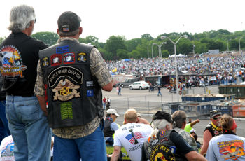 Rolling Thunder bikers overlook a crowd of thousands of fellow American war veterans and bikers May 24, 2009, staging in the Pentagon's north parking lot for the 22nd Annual Rolling Thunder rally in Washington, D.C.