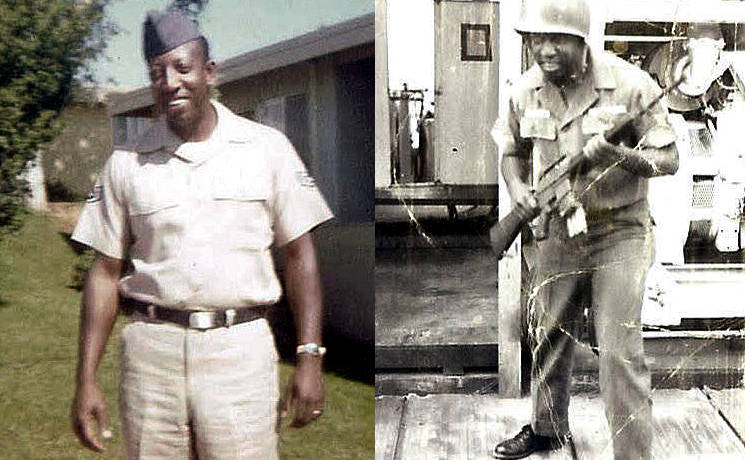 (R-L) -- Retired Tech. Sgt. Lenard Ellison in front of a building at Beale Air Force Base, CA. in the late 1960s and with his weapon in Saigon, Vietnam circa 1968. Ellison, the patriarch of his family, began a family tradition of serving in the Air Force that continues today. Since 1947, there has been an Ellison in the Air Force. (Image created by USA Patriotism! from courtesy photos provided by the Lenard Ellison family)