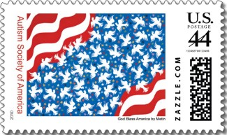 "U.S. postage stamp with Metin Bereketli's painting, ""God Bless America"""