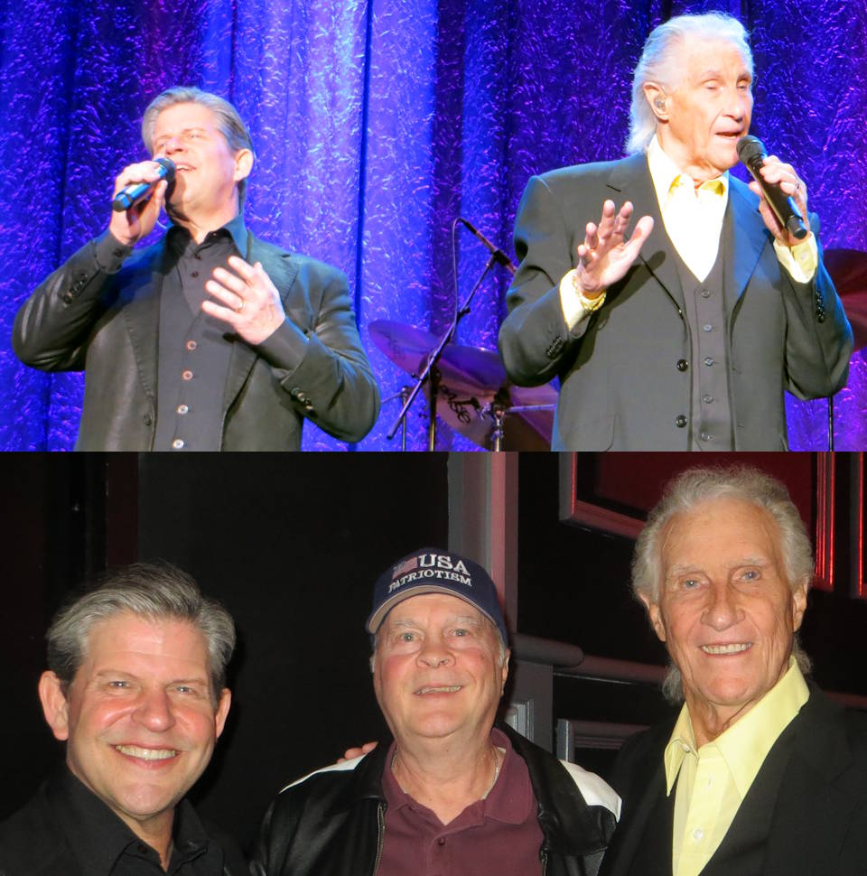 "The must see very entertaining The Righteous Brothers show takes you back in time for a classic experience that remains ageless ... as was the case at the Harrah's Las Vegas Hotel and Casino on February 26, 2020 ... with top scene showing them performing ""Unchained Melody"" (featured in the movie ""Ghost""). Then after the show ... legendary Rock and Roll Hall of Famer Bill Medley and his new partner, Bucky Heard, met with USA Patriotism! founder David Bancroft and his wife (not pictured). Image and Photos by USA Patriotism!"