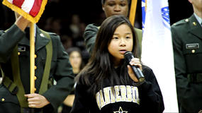 An amazing, heart grabbing performance of the Star Spangled Banner / National Anthem by nine year old Dominique Dy at the Vanderbilt University (Commodores) Men's Basketball game against top 25 ranked Saint Mary's College on January 22, 2011.