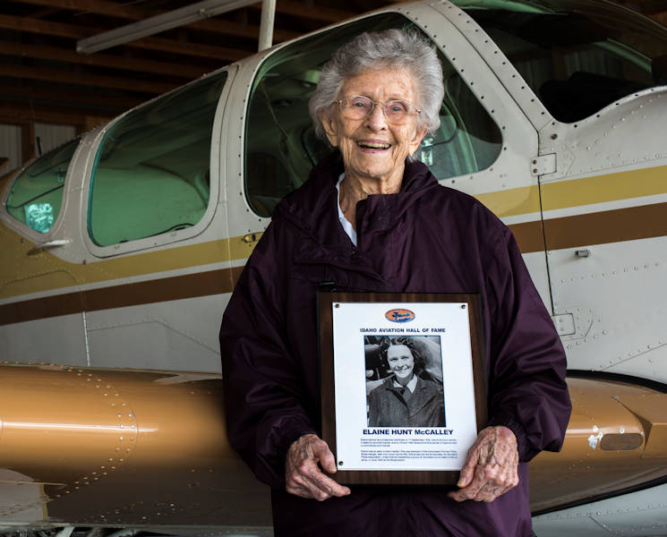 Elaine McCalley in front of an aircraft April 10, 2017, at Mountain Home municipal airport. She was inducted into the Idaho Aviation Hall of Fame. (U.S. Air Force Photo by Senior Airman Jeremy L. Mosier)