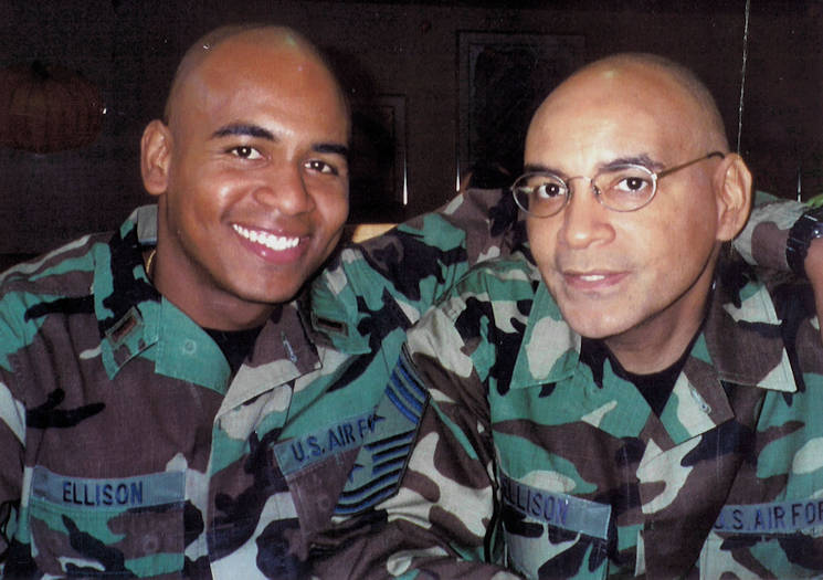 Second Lieutenant Rodney Ellison Jr. poses with his dad, Chief Master Sgt. Rodney Ellison, at Lackland Air Force Base, Texas in 2003. Both followed a legacy set by the patriarch of their family, retired Tech. Sgt. Lenard Ellison, of serving in the Air Force. (Courtesy photo by the Lenard Ellison family)