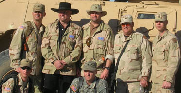 Montgomery Gentry with troops during 2006 USO in Iraq