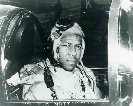 "Historical file photo of Ensign Jesse L. Brown, seated in the cockpit of an F4U-4 Corsair Fighter plane, the U.S. Navy's first black naval aviator. Ensign Brown flew with the ""Swordsmen"" of Fighter Squadron Three Two (VF-32) aboard the aircraft carrier USS Leyte (CV 32) during the Korean Conflict. While in Korea, he was killed in action and posthumously awarded the Distinguished Flying Cross. U.S. Navy photo"