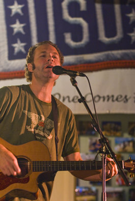 John Ondrasik performing for troop on USO tour