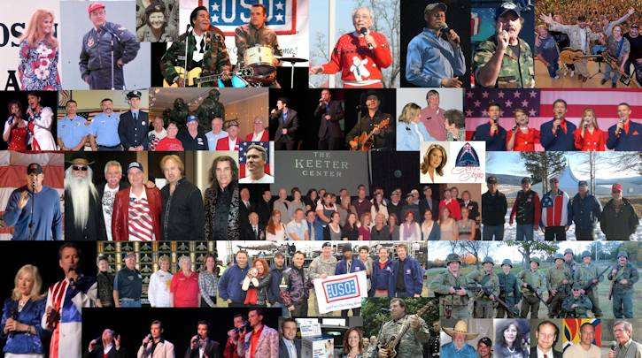 Collage of American patriotis supporting troops and veterans through entertainment and volunteer efforts!