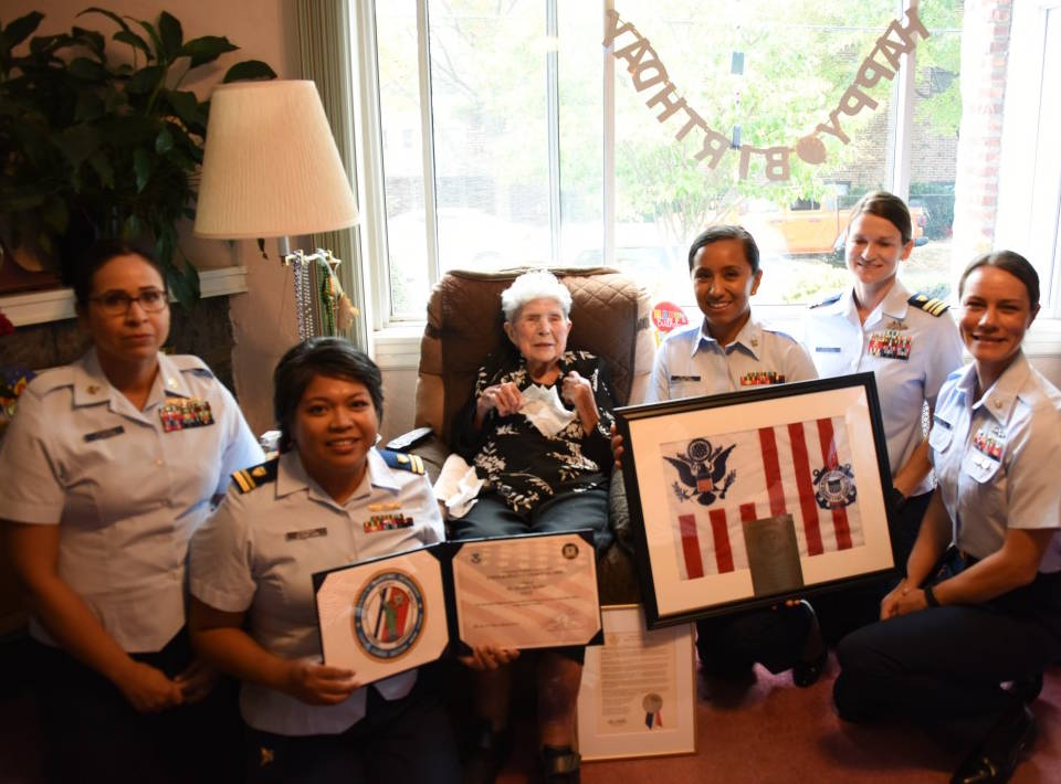 Rosalen H. Becker, U.S. Coast Guard radio technician 2nd class and trailblazer for women's equality, celebrates her 100th birthday with service members from Coast Guard Sector New York on October 13, 2019. At the height of World War II, Becker volunteered for Semper Paratus Always Ready, better known as SPARs, the United States Coast Guard Women's Reserve (U.S. Coast Guard photo by Petty Officer 1st Class Robert Harclerode)
