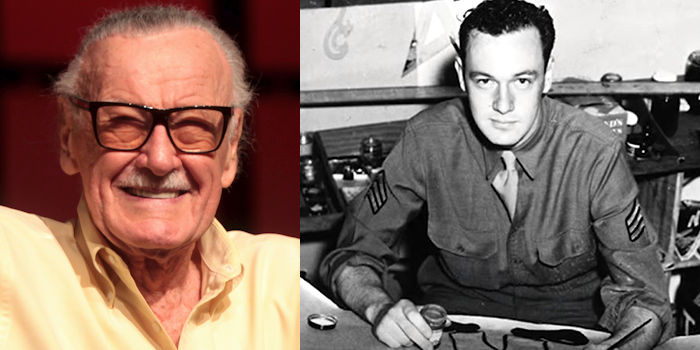 Stan Lee, known for working with the company that became Marvel Comics and artist Jack Kirby, co-created comic book characters such as Spider-Man, The Incredible Hulk, the Fantastic Four, Thor, X-Men and Doctor Strange. But he also served in the U.S. Army Signal Corps during World War II from 1942 to 1945. (Image created by USA Patriotism! from courtesy photos provided by Stan Lee via DoD News and Wikipedia)