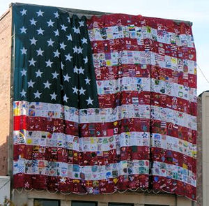 Qulited USA flag on side of building in Columbus, GA near Ft. Benning