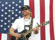 Toby Keith performing for the troops
