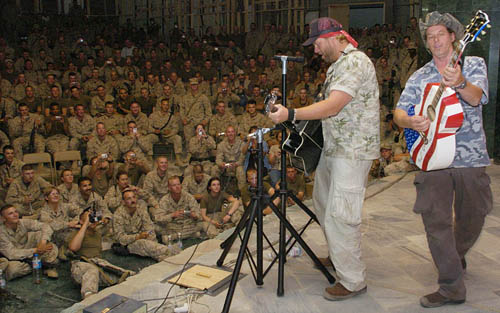 Ted Nugent performing with Toby Keith for troops in Iraq - 2004