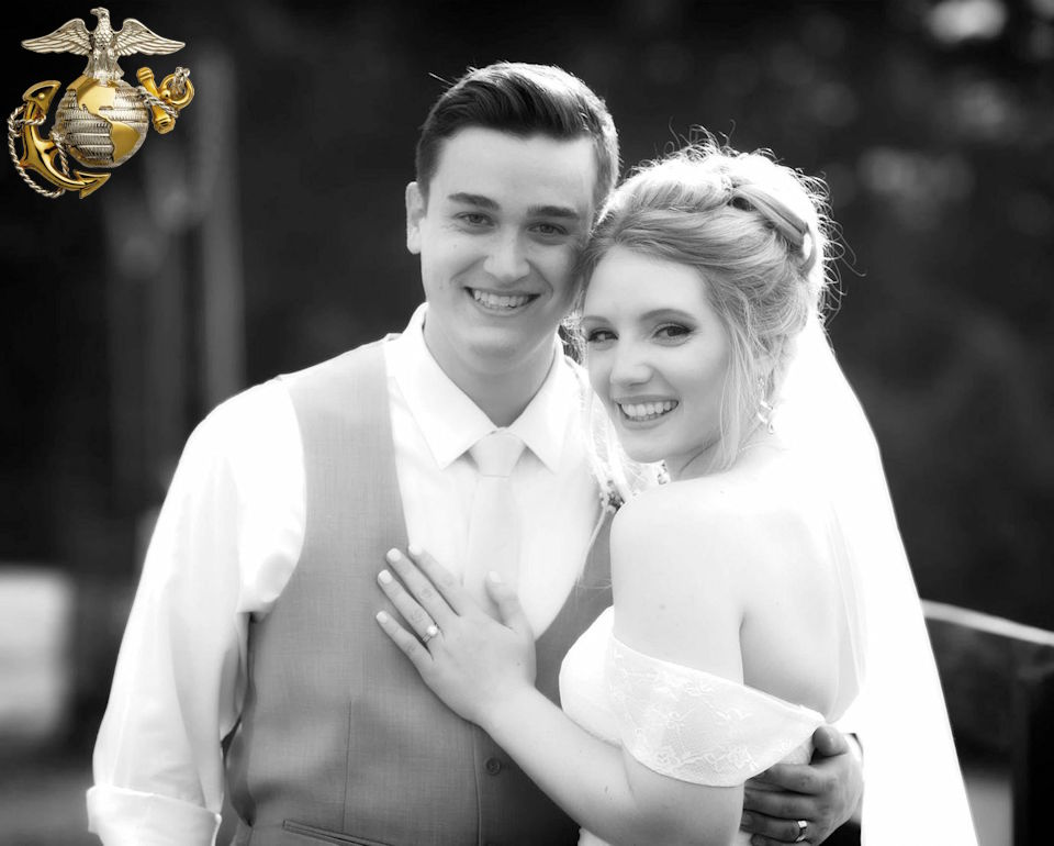 David and Brianna Whitehead pose for a photo at their wedding on August 1, 2019. (Image created by USA Patriotism! from photo provided by David and Brianna Whitehead.)
