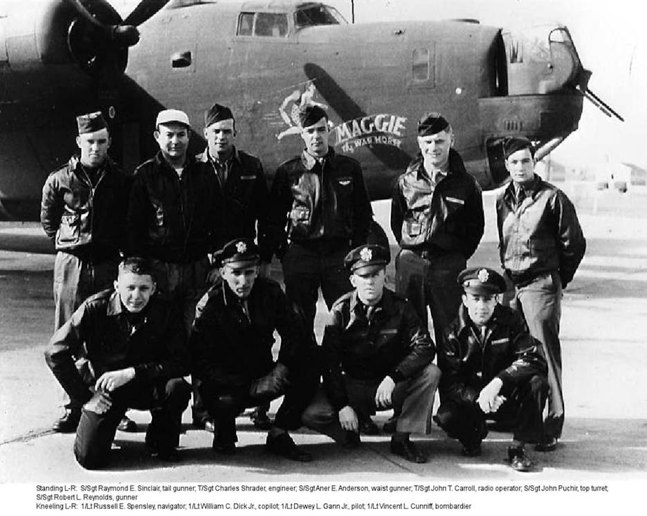 The Rev. Vincent Cunniff's bomber crew. Standing left to right: Sgt. Raymond E. Sinclair, tail gunner, Sgt. Charles Shrader, engineer, Sgt. Aner E. Anderson, waist gunner, Sgt. John T. Carroll, radio operator, Sgt. John Puchir, top turret, Sgt. Robert L. Reynolds, gunner. Kneeling left to right: Lt. Russell E. Spensley, navigator, Lt. William C. Dick, Jr., co-pilot, Lt. Dewey L. Gann, pilot, and Lt. Vincent L. Cunniff, bombardier. (Photo courtesy of Sisters of St. Mary of Oregon)