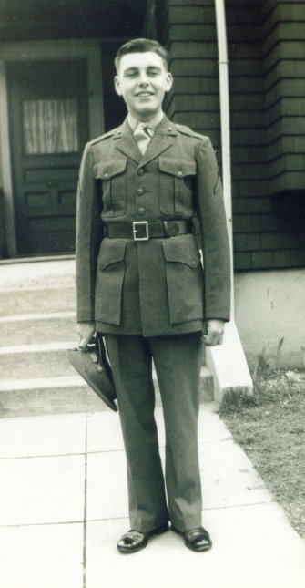 December 1941 - Jack Cowley in his Marine Corps uniform while home on Christmas leave in Quincy, MA. Shortly after leave, Cowley was deployed to his first overseas assignment in Guadalcanal in the South Pacific during World War II. (Courtesy photo by Jack Cowley)