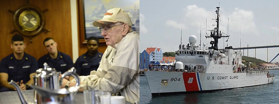 World War II veteran Jim Evans in the officers ward room relating his wartime experiences to crew members of today's Northland, a 270-foot medium-endurance cutter. (Image created by USA Patriotism! from U.S. Coast Guard courtesy photos)