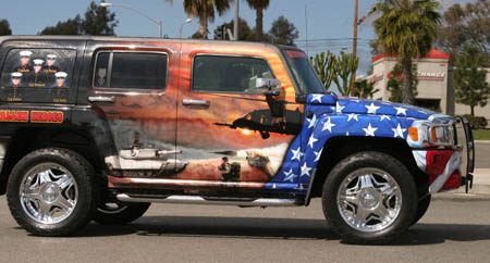 Patriotic painted 2006 Hummer H3 honoring fallen son and fellow Marines - 01
