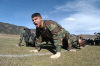 Cadet (now 2nd Class) Andrew Kemendo doing Ranger pushups during a silver weekend training event, which was in preparation for semester's training event, Pinnacle.