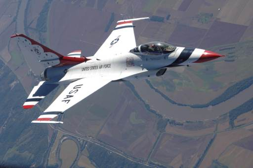 Air Force Thunderbird flies over North Dakota during an air-refueling mission Oct. 1, 2007.