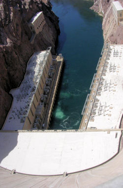 Photo of Hoover Dam's flood gates and Colorado River