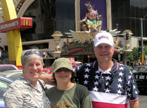 David Bancroft with his wife and grandson in front of Harrah's in Las Vegas before attending Wayne Newton's show.