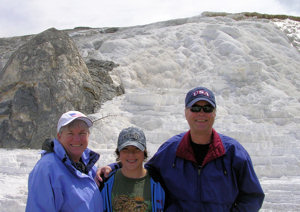 David Bancroft with wife and grandson at Mammoth Hot Springs in Yellowstone National Park.