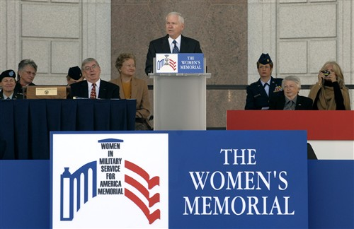Defense Secretary Robert M. Gates addresses the crowd during the 10th Anniversary Ceremony of the Women's Memorial Dedication at Arlington National Cemetery, Nov. 3, 2007.
