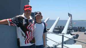 David Bancroft with grandson on USS Alabama