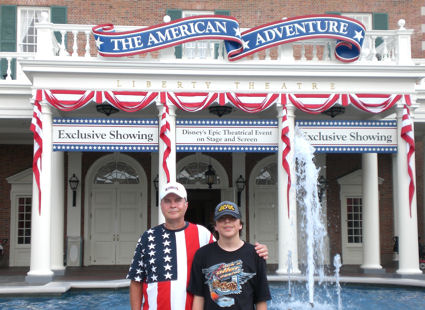 David Bancroft and his grandson in front of Dsiney Epcot's American Adventure ... a must see memorable historical showcase of America.