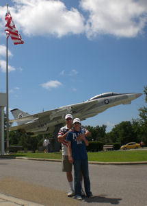 David Bancroft with his grandson in front of National Naval Aviation Museum