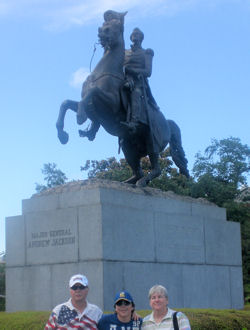 David Bancroft, wife, and their grandson in front General Andrew Jackson's statute in New Orleans