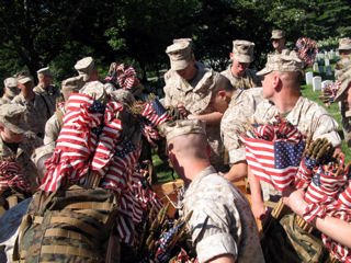 "Marines assigned to the Marine Corps Barracks in Washington, D.C., reach for armsful of miniature flags to place at every grave in Arlington National Cemetery during the ""Flags In"" tribute, May 21, 2009."