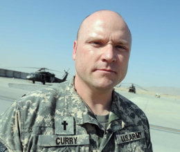 Army Chaplain (Capt.) David Curry serves with Task Force Eagle Assault, an elite unit based in Kandahar, Afghanistan