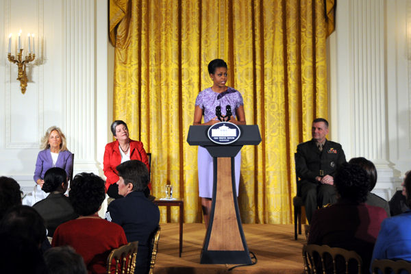 First Lady Michelle Obama addresses guests at an afternoon tea, Nov. 18, 2009, at the White House, honroing all women who have served, or are serving in the U.S. military.