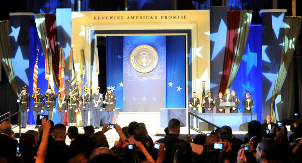 President Barack Obama speaks during the Commander in Chief's Ball in downtown Washington, D.C., Jan. 20, 2009. More than 5,000 men and women in uniform are providing military ceremonial support to the presidential inauguration, a tradition dating back to George Washington's 1789 inauguration.