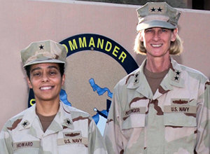 Navy Rear Adm. Carol Pottenger, right, and Navy Rear Adm. Michelle Howard met with women surface warfare officers at U.S. Naval Forces Central Command headquarters in Manama, Bahrain, to encourage them in their careers and lives.