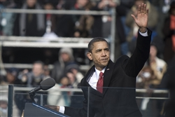 President Barack Obama waves to the crowd at the conclusion of his inaugural address.