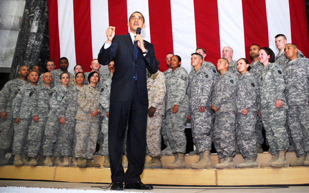 U.S. President Barack Obama visits Al Faw Palace on Camp Victory, Iraq, April 7, 2009. This was Obama's first trip to Iraq as commander in chief and he took time to talk to troops and civilians.