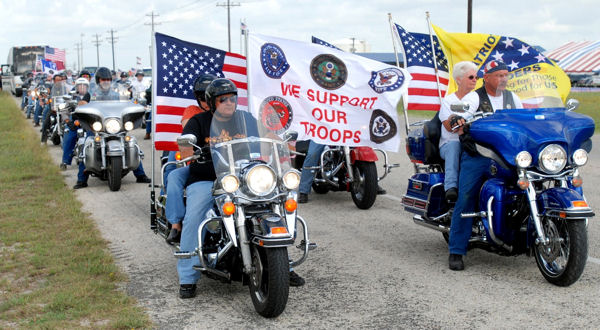 Motorcyclists from the Patriot Guard Riders show their support to servicemembers at the Warrior's Weekend in Port O'Connor, Texas, May 16, 2009. Local residents treated wounded soldiers and veterans to free fishing at the event.