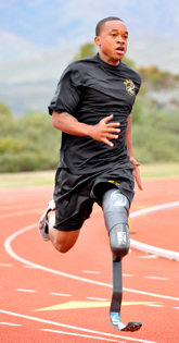 U.S. Army World Class Athlete Program Paralympic sprinter hopeful Sgt. Jerrod Fields works out at the U.S. Olympic Training Center in Chula Vista, Calif.