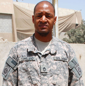 Army Sgt. 1st Class Class Trevino L. Copeland, a Multinational Division Baghdad supply sergeant, is serving the seventh deployment of his Army career.