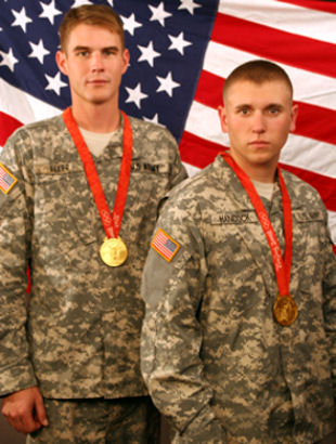 Sgt. Glenn Eller (left) and Spc. Vincent Hancock, both assigned to the U.S. Army Marksmanship Unit, each won a gold medal at the 2008 Summer Olympics. This week marks the one-year anniversary of their accomplishment. The Soldiers have been on the road ever since, telling people to follow their dreams and how the Army can help make that happen.