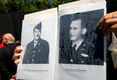 U.S. Army Master Sgt. Chester Ovnand and Maj. Dale Buis were the first two U.S. servicemembers killed in the Vietnam War. Their sacrifice was honored in Washington, D.C., Jyly 8, 2009, in a ceremony commemorating the 50th Anniversary of their deaths.