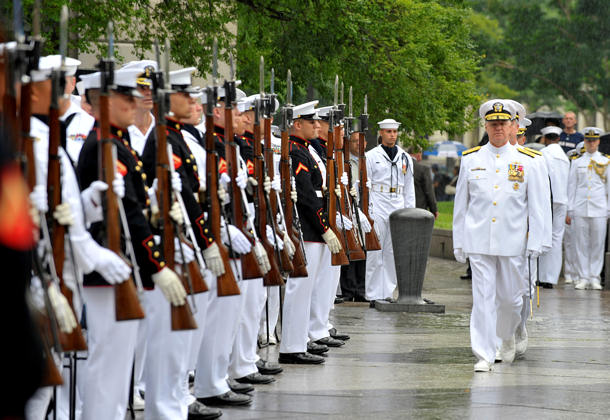 Chief of Naval Operations (CNO) Adm. Gary Roughead inspects members of the Navy and Marine Corps ceremonial guard during the Battle of Midway Commemoration Ceremony at the Navy Memorial in Washington. Each year, the Navy remembers the he courage and sacrifice of the Sailors who fought in the Battle of Midway, a turning point in the Pacific during WWII.