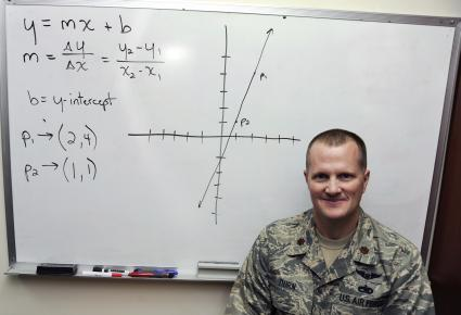 Air Force Maj. Jim Dorn tutors airmen in math during weekly sessions at an air base in Southwest Asia. Dorn is the 380th Expeditionary Maintenance Squadron commander.