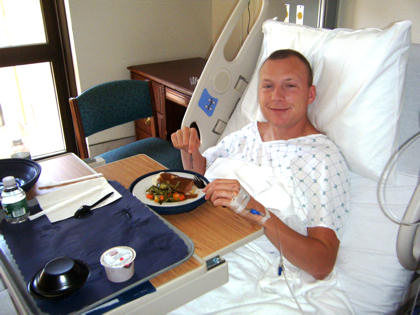 Only a few hours after donating bone marrow to a critical patient, Air Force Staff Sgt. Charles F. Newberry recovers Aug. 11, 2010, in his Washington, D.C., hospital room. Newberry said his recovery was fast, and he was walking around the day after his surgery. U.S. Air Force photo