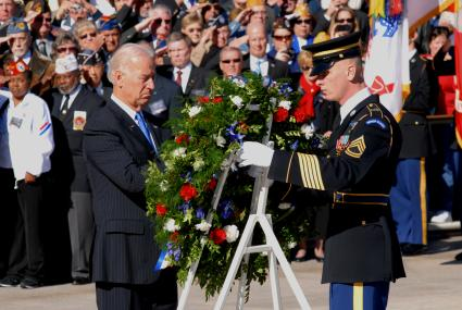 Vice President Joe Biden places a wreath at the Tomb of the Unknowns during a Veterans Day ceremony at Arlington National Cemetery, Nov. 11, 2010. DoD photo by Karen Parrish